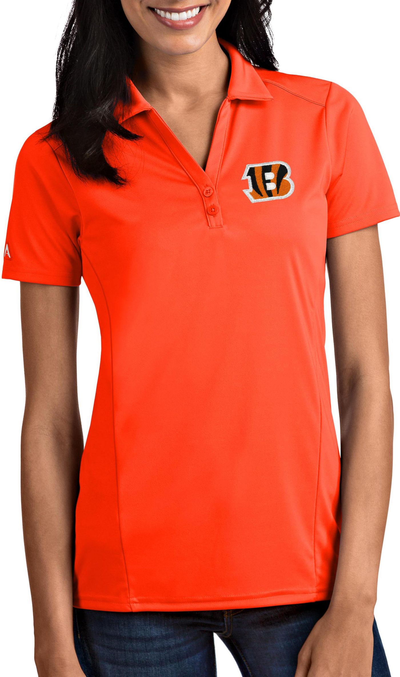 Antigua Women's Cincinnati Bengals Tribute Orange Polo