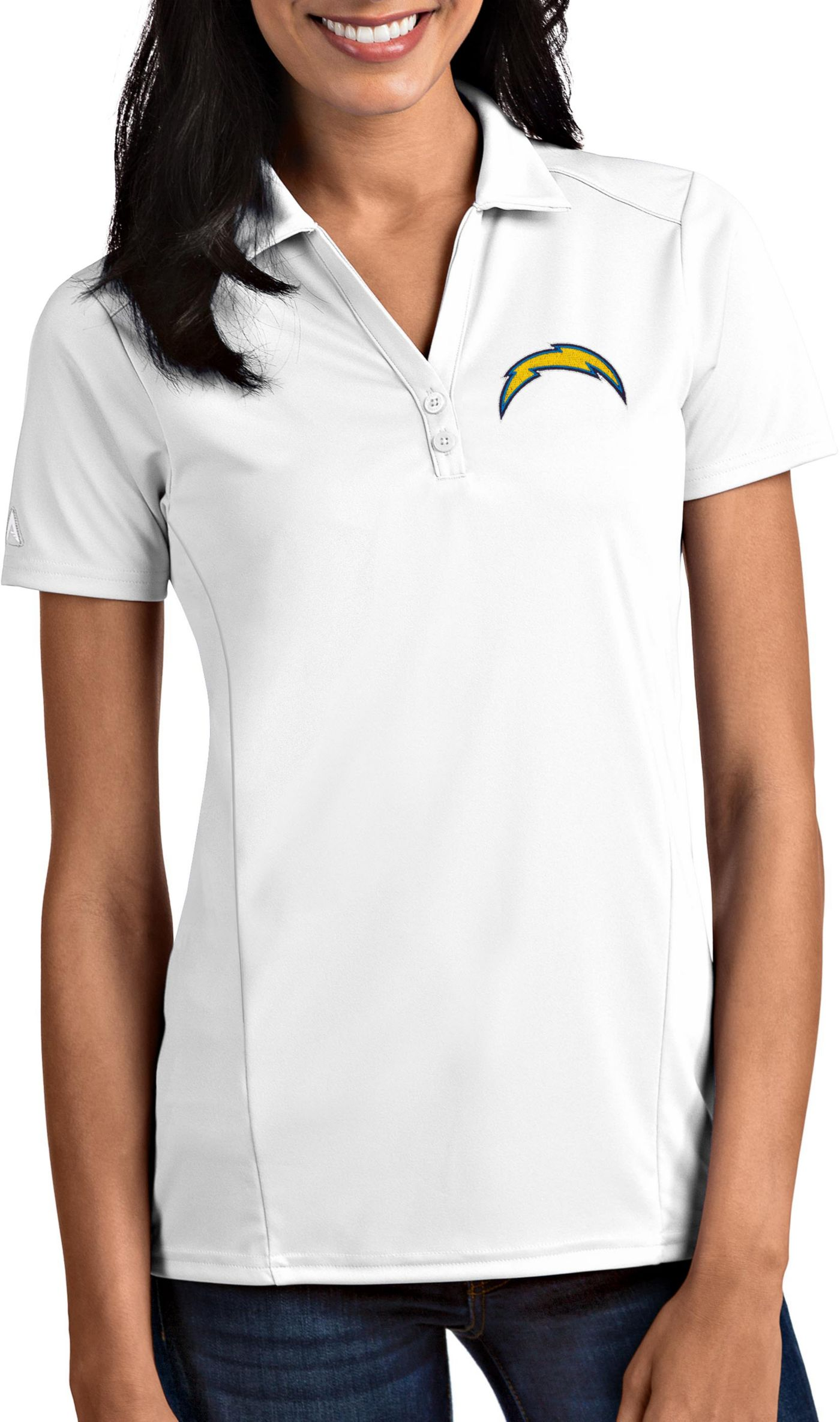 Antigua Women's Los Angeles Chargers Tribute White Polo