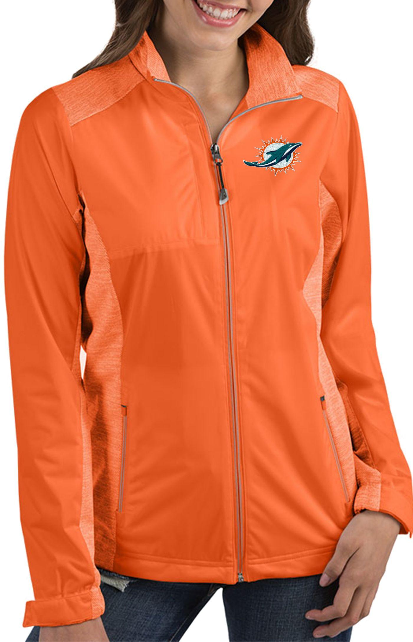 Antigua Women's Miami Dolphins Revolve Orange Full-Zip Jacket