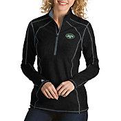 Antigua Women's New York Jets Tempo Black Quarter-Zip Pullover