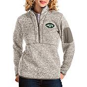 Antigua Women's New York Jets Fortune Quarter-Zip Oatmeal Pullover