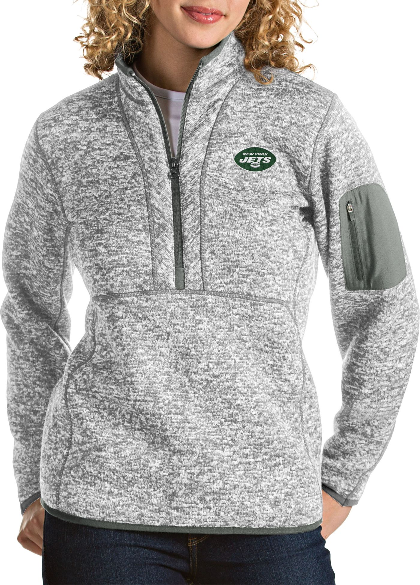 Antigua Women's New York Jets Fortune Heather Grey Pullover Jacket