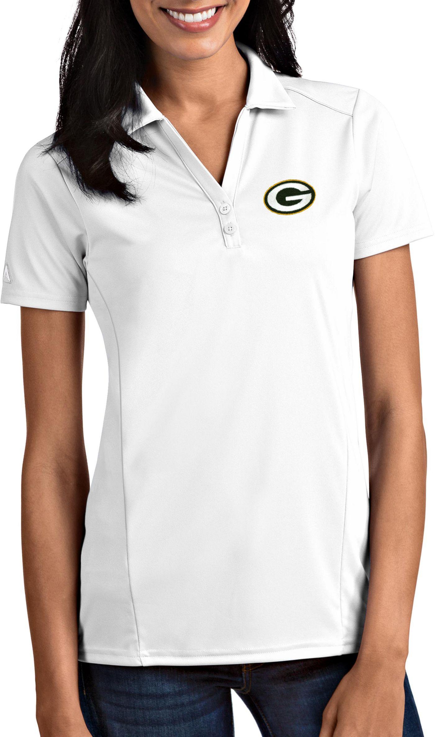 Antigua Women's Green Bay Packers Tribute White Polo