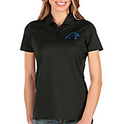 Antigua Women's Carolina Panthers Balance Black Polo