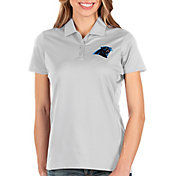 Antigua Women's Carolina Panthers Balance White Polo