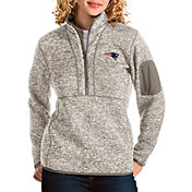 Antigua Women's New England Patriots Fortune Quarter-Zip Oatmeal Pullover