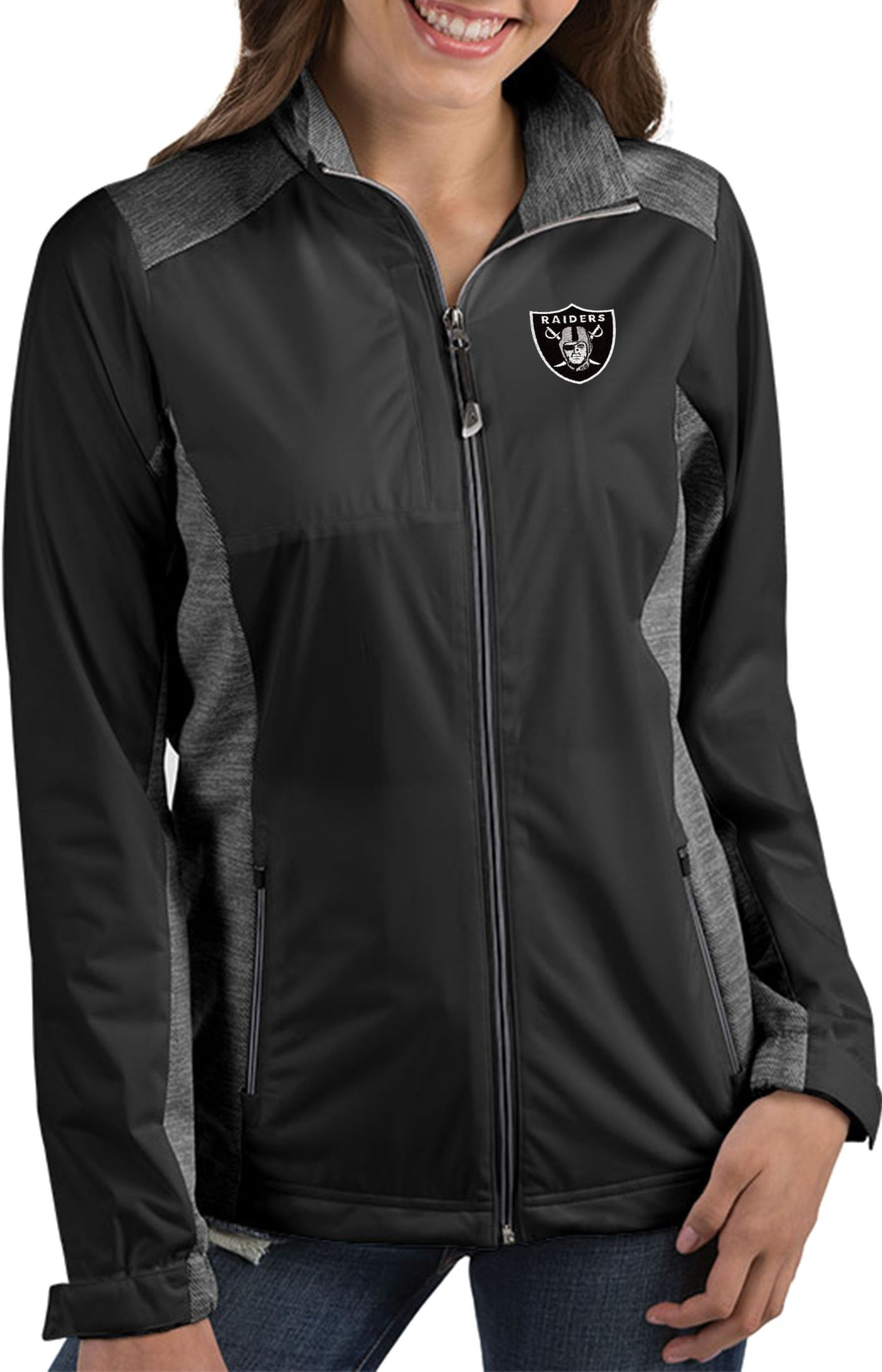 Antigua Women's Las Vegas Raiders Revolve Black Full-Zip Jacket