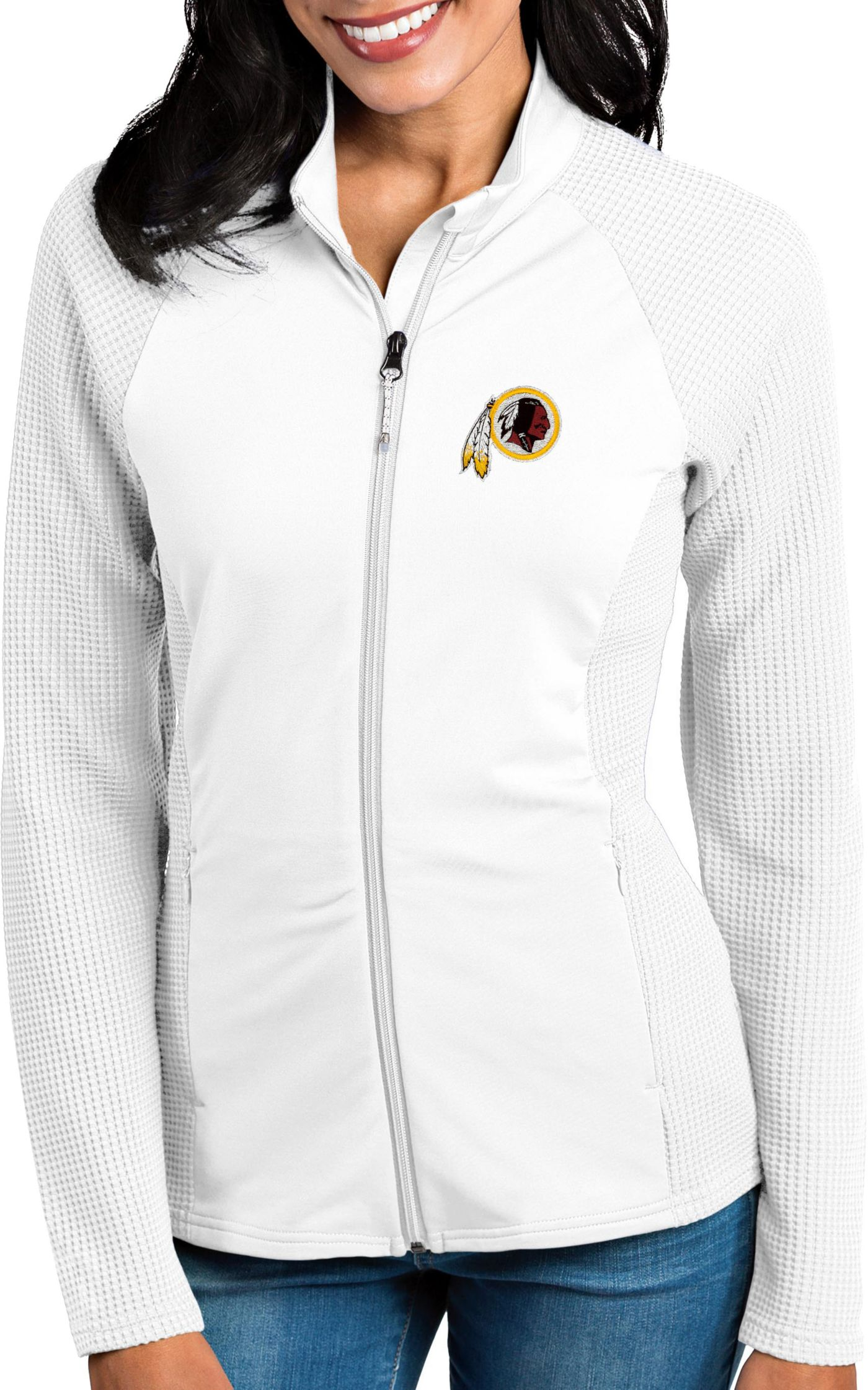 Antigua Women's Washington Redskins Sonar White Full-Zip Jacket