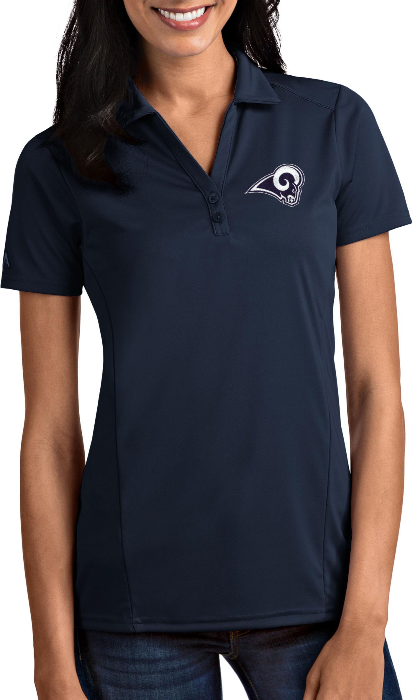 Antigua Women's Los Angeles Rams Tribute Navy Polo