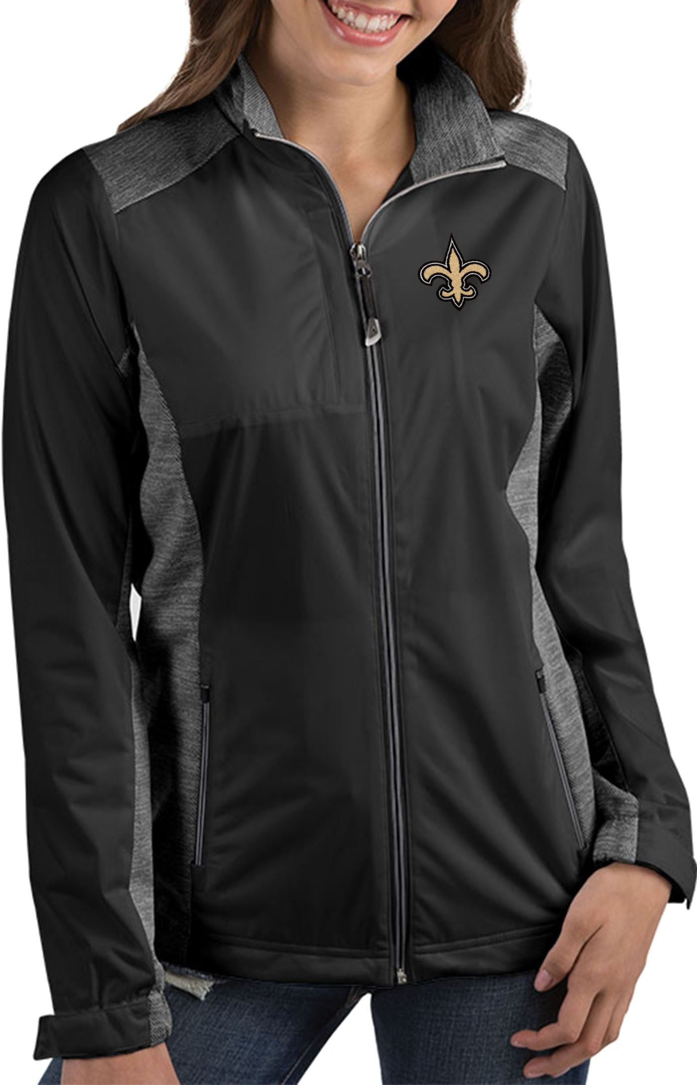 Antigua Women's New Orleans Saints Revolve Black Full-Zip Jacket