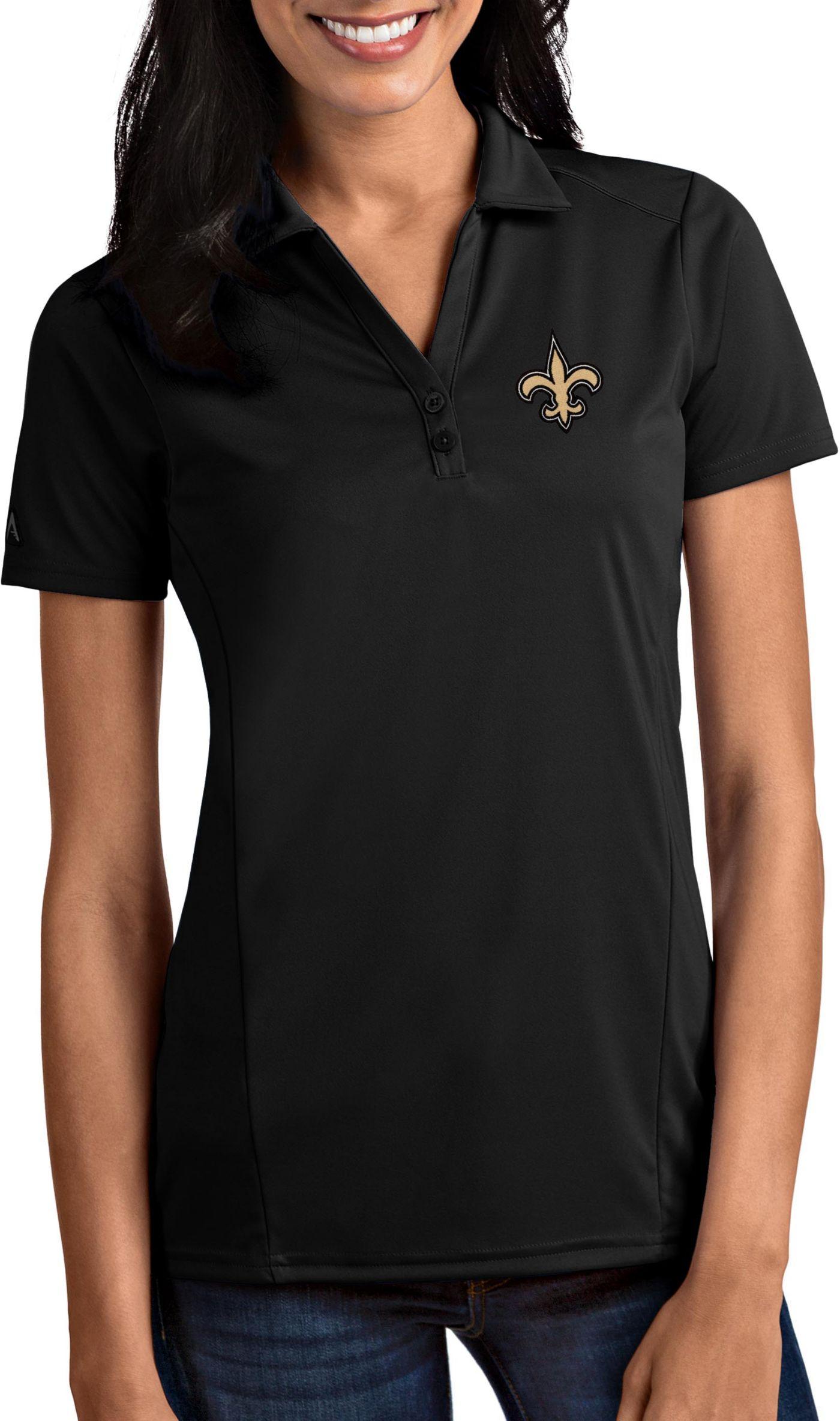 Antigua Women's New Orleans Saints Tribute Black Polo
