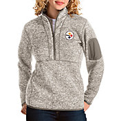 Antigua Women's Pittsburgh Steelers Fortune Quarter-Zip Oatmeal Pullover