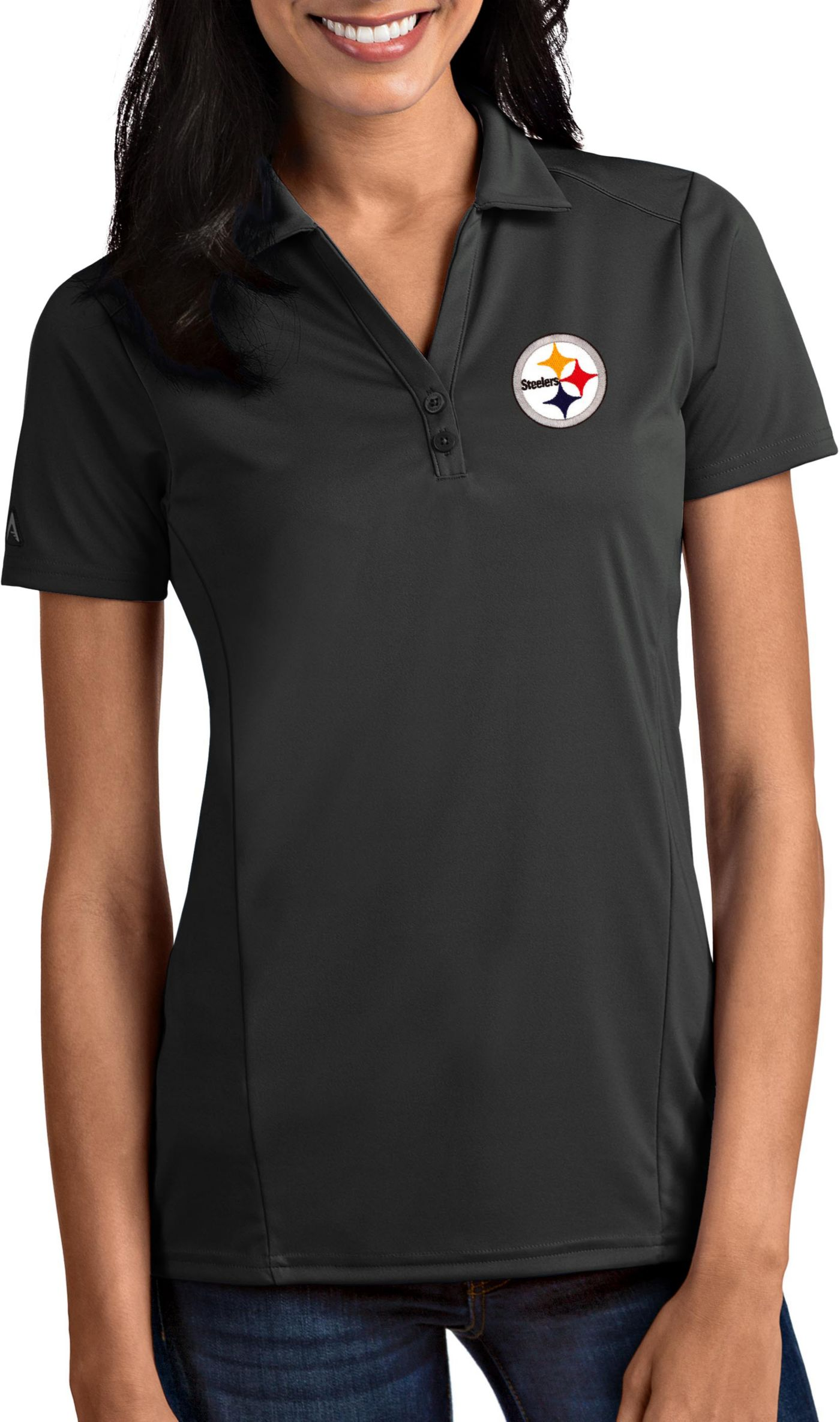 Antigua Women's Pittsburgh Steelers Tribute Grey Polo