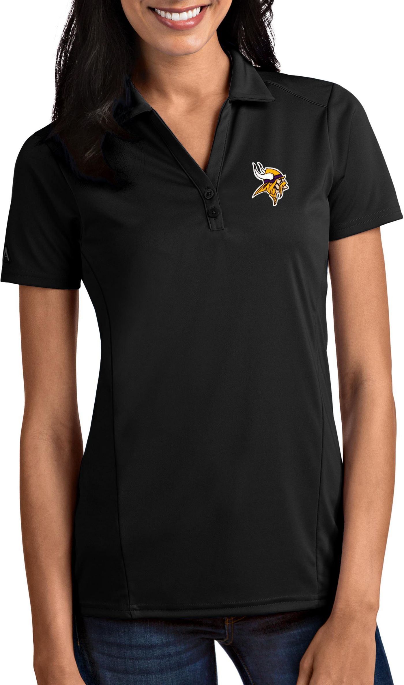 Antigua Women's Minnesota Vikings Tribute Black Polo