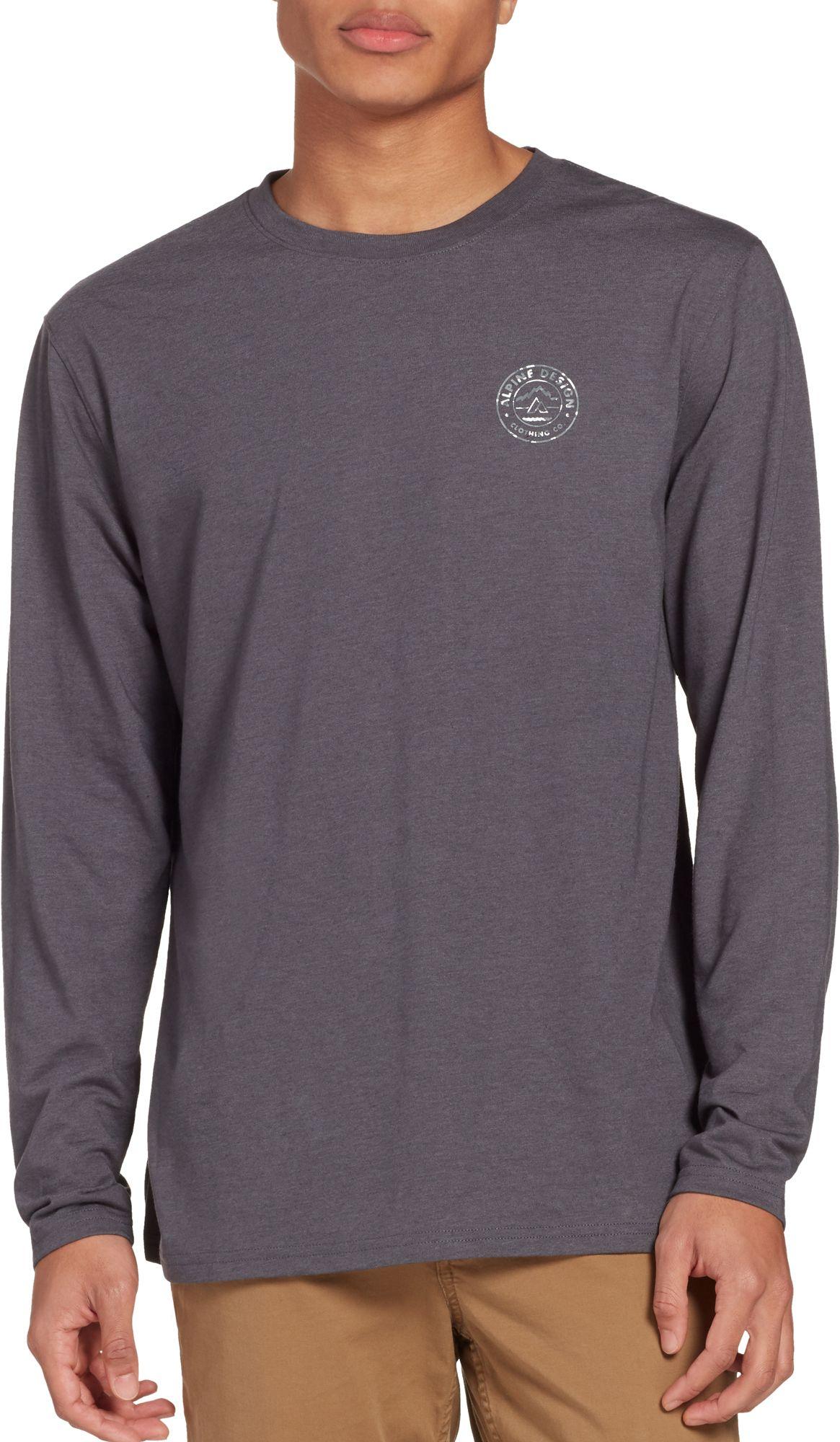 Alpine Design Men's First Mile Made Camo Logo Long Sleeve Shirt, Medium, Asphalt Htr/Camo Logo