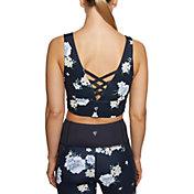 Betsey Johnson Women's Wild Flower Deep V-Back Basket Sports Bra