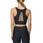 Betsey Johnson Women's Mock Lace Up Back Extended Sports Bra