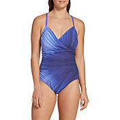 CALIA by Carrie Underwood Women's Ruched Printed One Piece Swimsuit