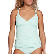 CALIA by Carrie Underwood Women's Strappy Ruched Tankini Top