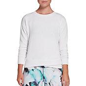 CALIA by Carrie Underwood Women's Cupro Overlap Hem Crewneck Sweatshirt (Regular and Plus)