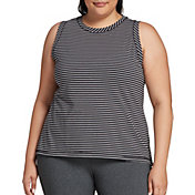 CALIA by Carrie Underwood Women's Plus Size Striped Everday Muscle Tank Top