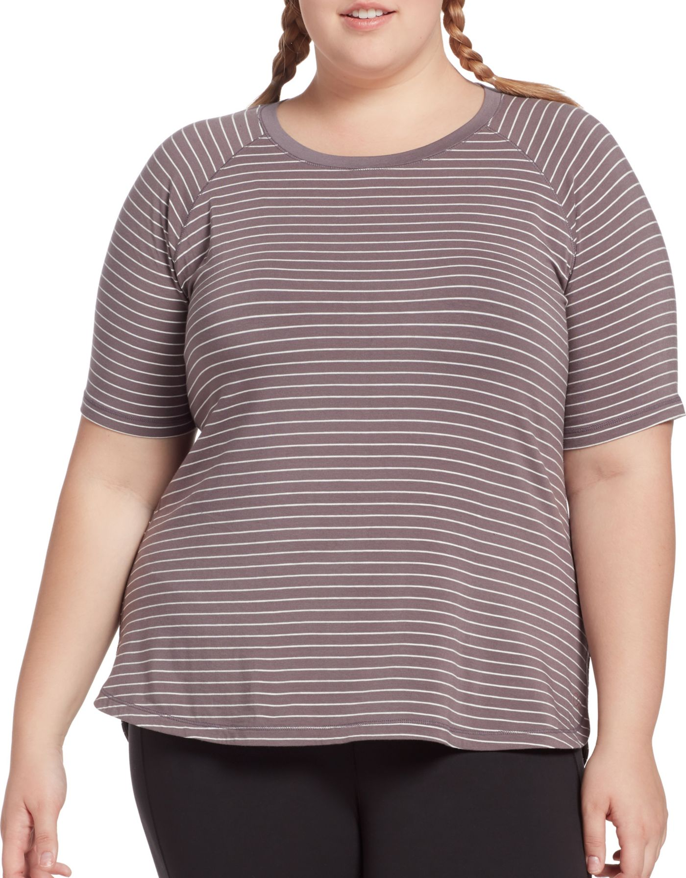 CALIA by Carrie Underwood Women's Plus Size Everyday Striped T-Shirt