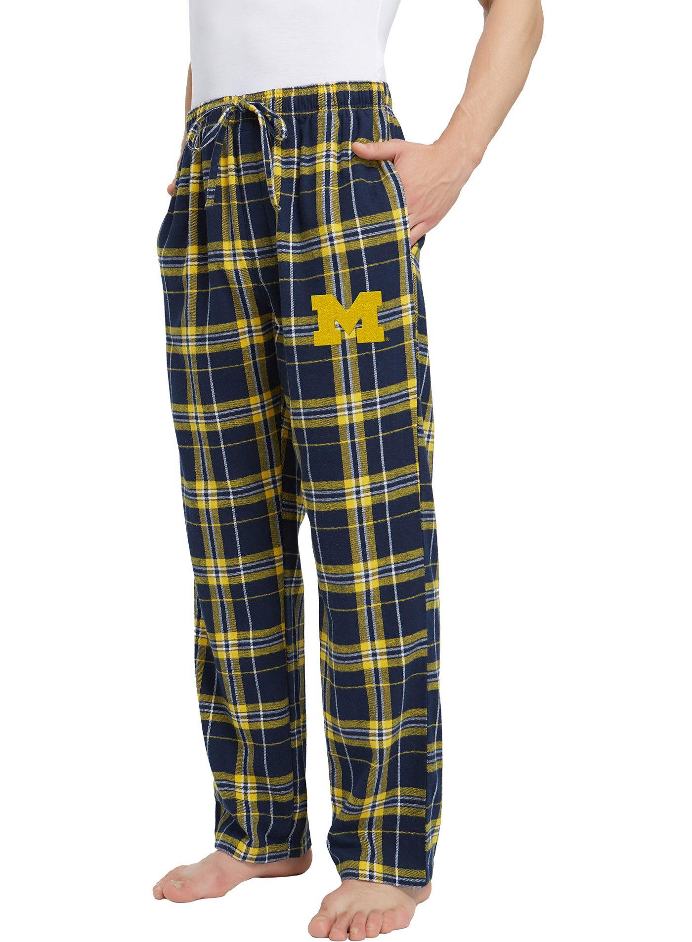 Concepts Sport Men's Michigan Wolverines Blue/Maize Hillstone Flannel Sleep Pants