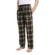 Concepts Sport Men's Purdue Boilermakers Black/Old Gold Hillstone Flannel Sleep Pants