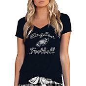 Concepts Sport Women's Philadelphia Eagles Mara Black Knit T-Shirt