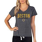 Concepts Sport Women's Boston Bruins Quest Dark Heather Grey V-Neck T-Shirt