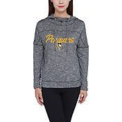 Concepts Sport Women's Pittsburgh Penguins Marble Heather Grey Hooded Long Sleeve Shirt