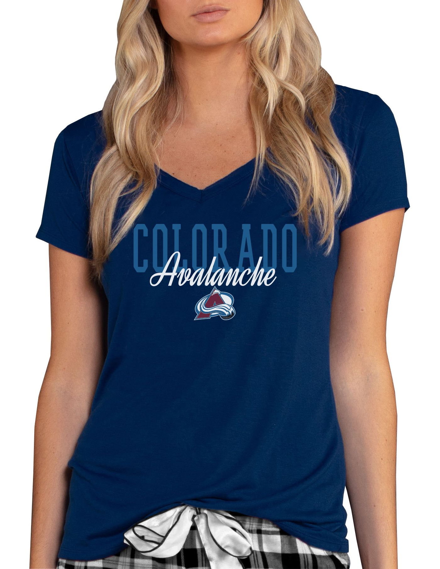 Concepts Sport Women's Colorado Avalanche Knit Navy V-Neck T-Shirt