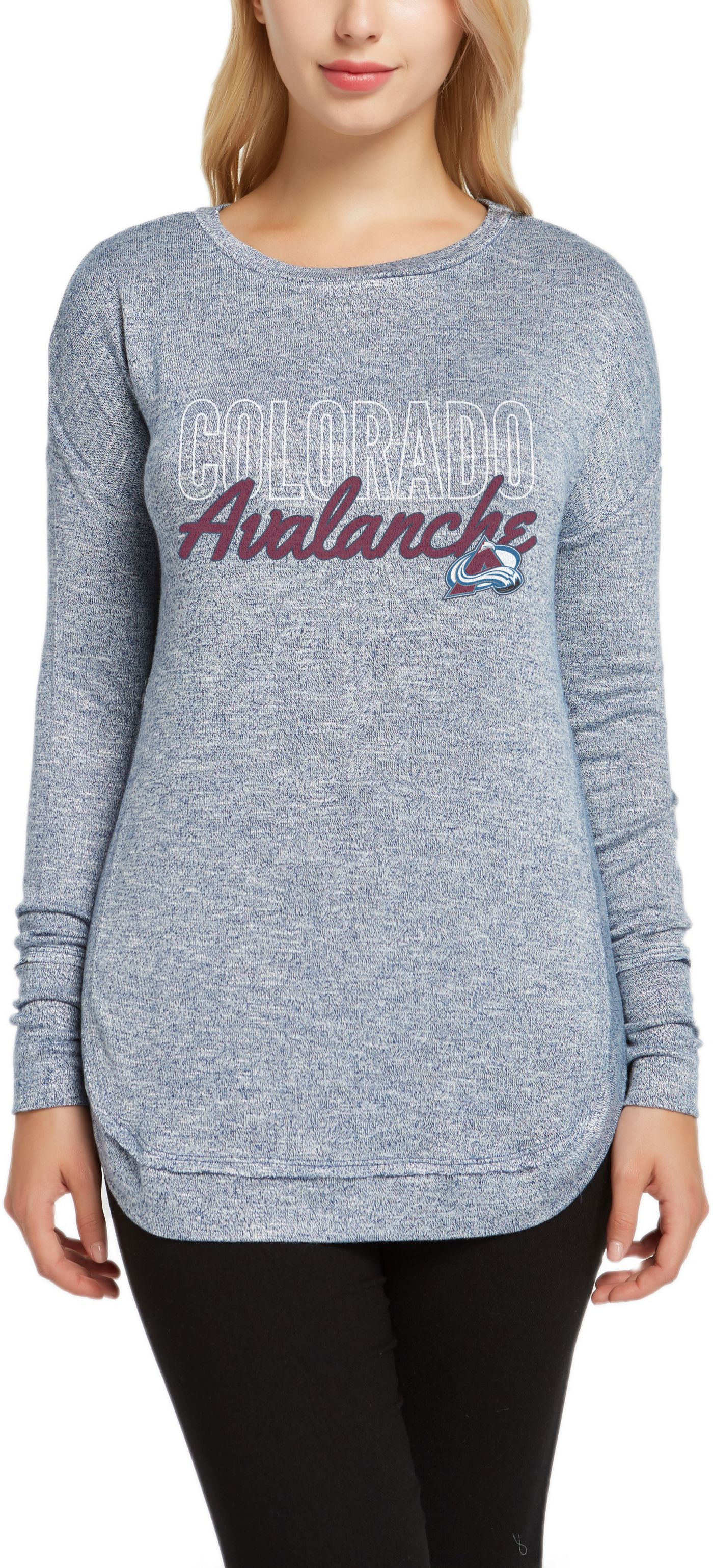 Concepts Sport Women's Colorado Avalanche Marble Navy Heathered Long Sleeve Shirt