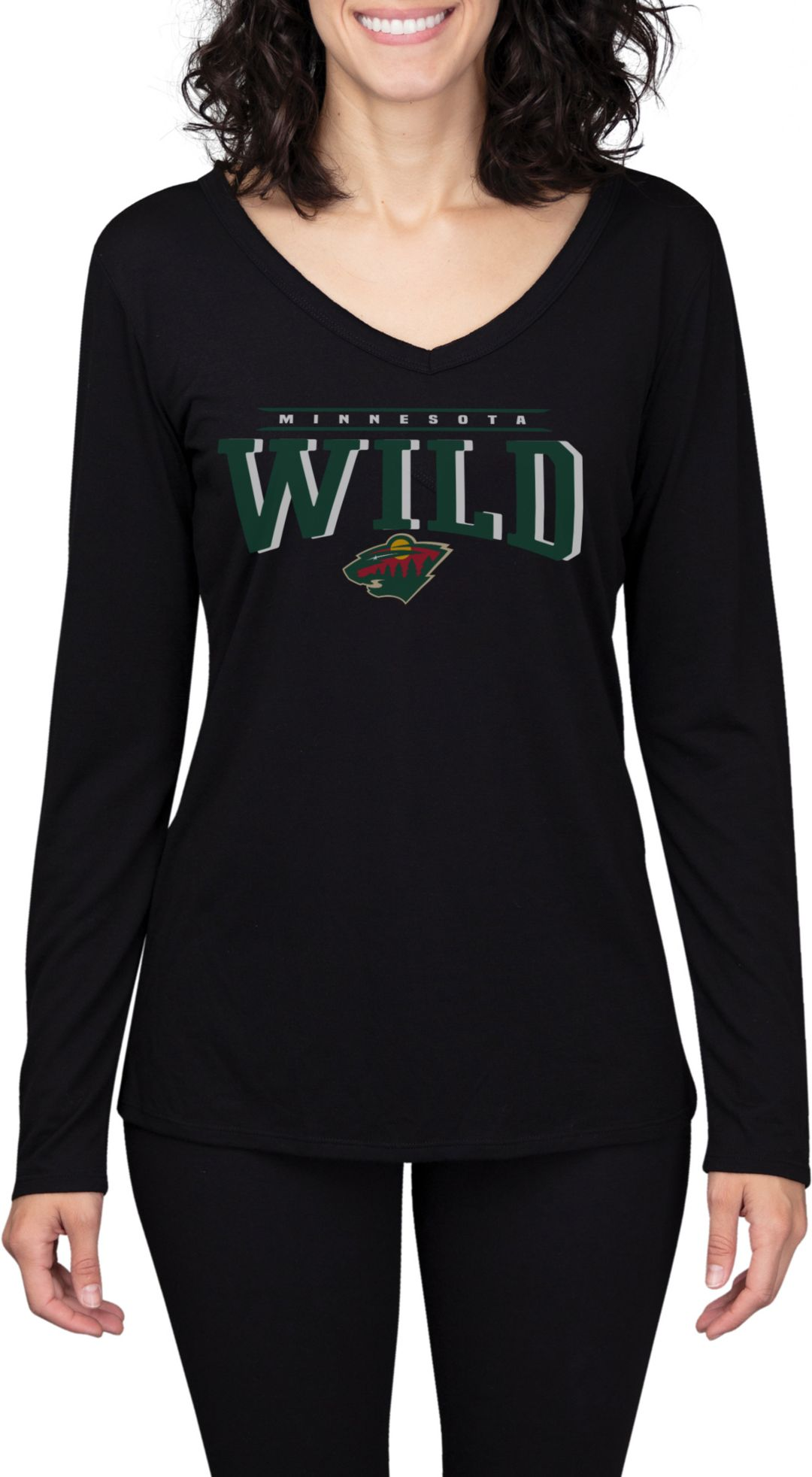 the latest 85bbf 31ee9 Concepts Sport Women's Minnesota Wild Marathon Black Long Sleeve Shirt