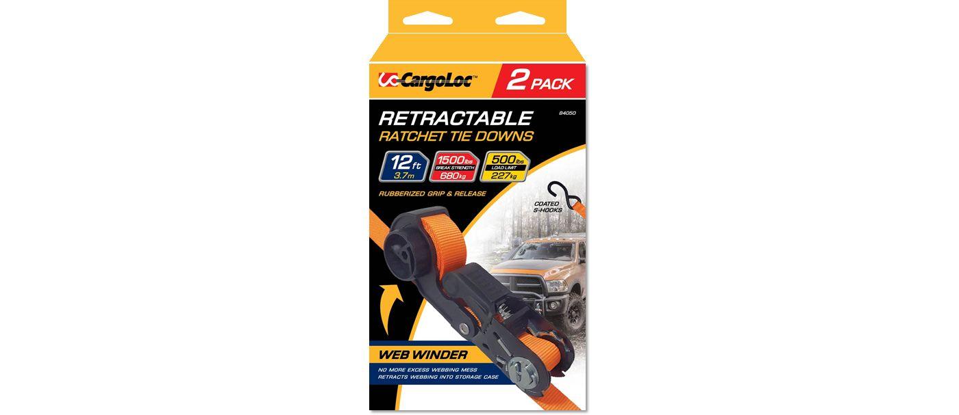 "CargoLoc 1"" x 12' Retractable Ratchet Tie Downs – 2 Pack"