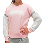 Champion Girl's Sherpa Sleeve Crewneck Sweatshirt