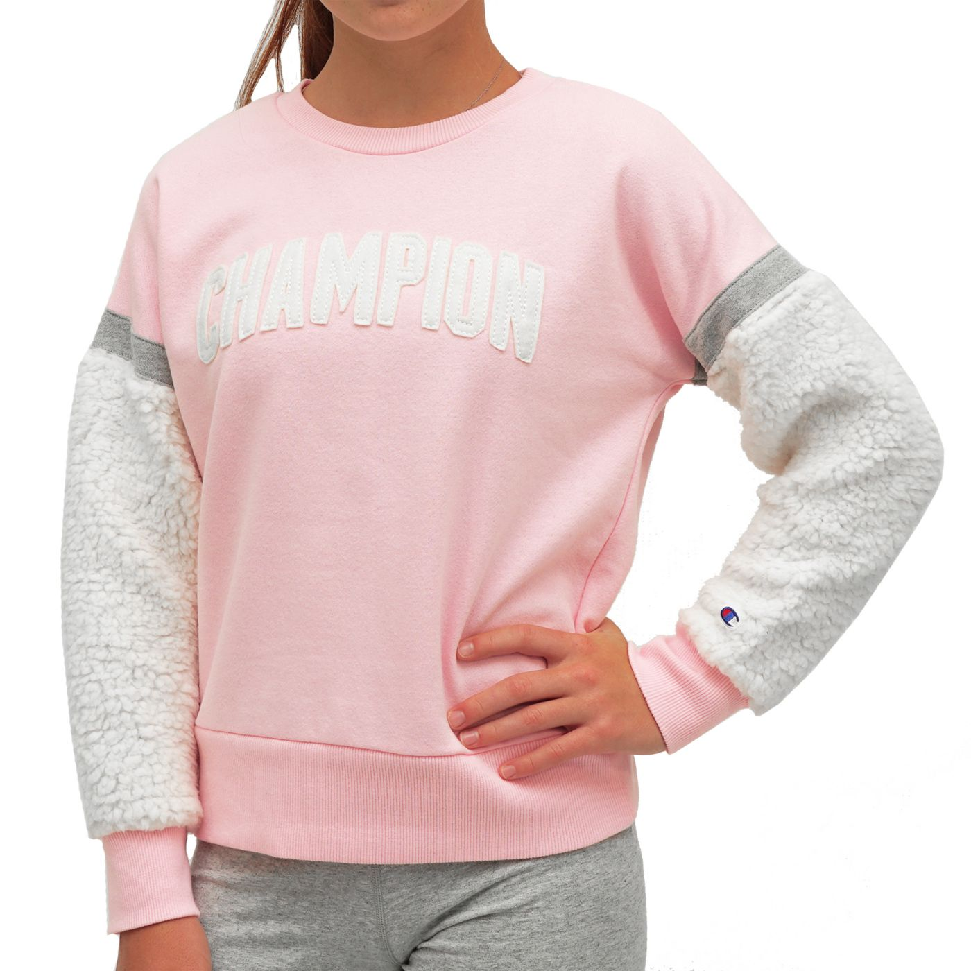 Champion Girl's Sherpa Sleeve Crewneck Sweatshirt