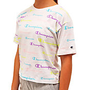 Champion Girls' Allover Print Script Boxy T-Shirt