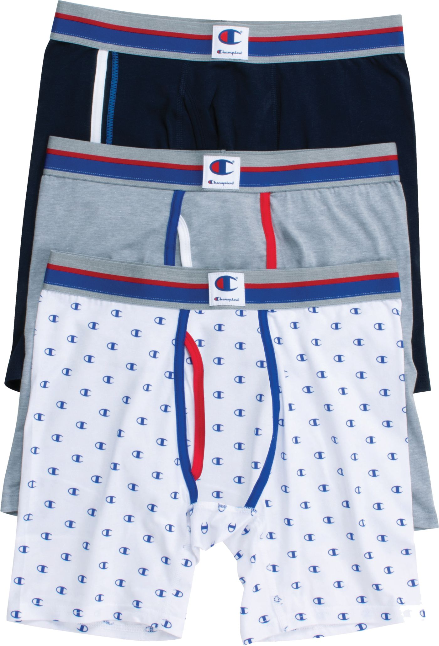 Champion Men's Everyday Comfort Logo Boxer Briefs – 3 Pack