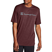 Champion Men's Double Dry Heather Mesh Textured Script Logo T-Shirt