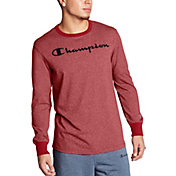 Champion Men's Heritage Heather Script Logo Graphic Long Sleeve Shirt