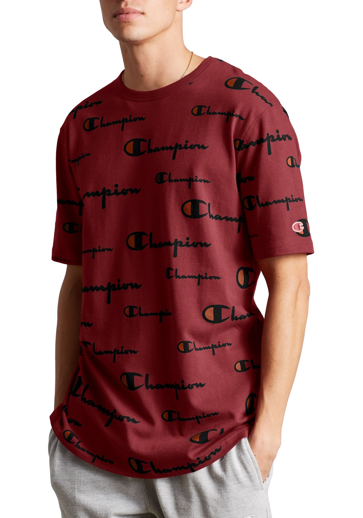 Champion Life Men's Allover Logo Print Heritage T-Shirt