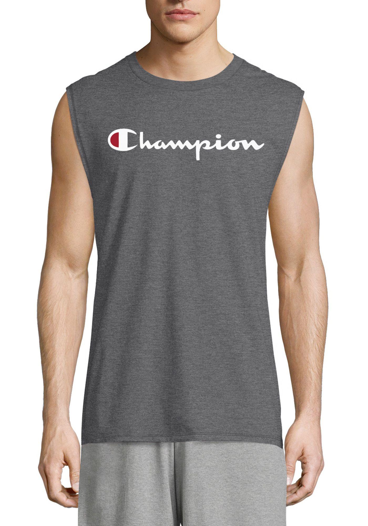 Champion Men's Classic Jersey Script Logo Graphic Muscle Tank Top