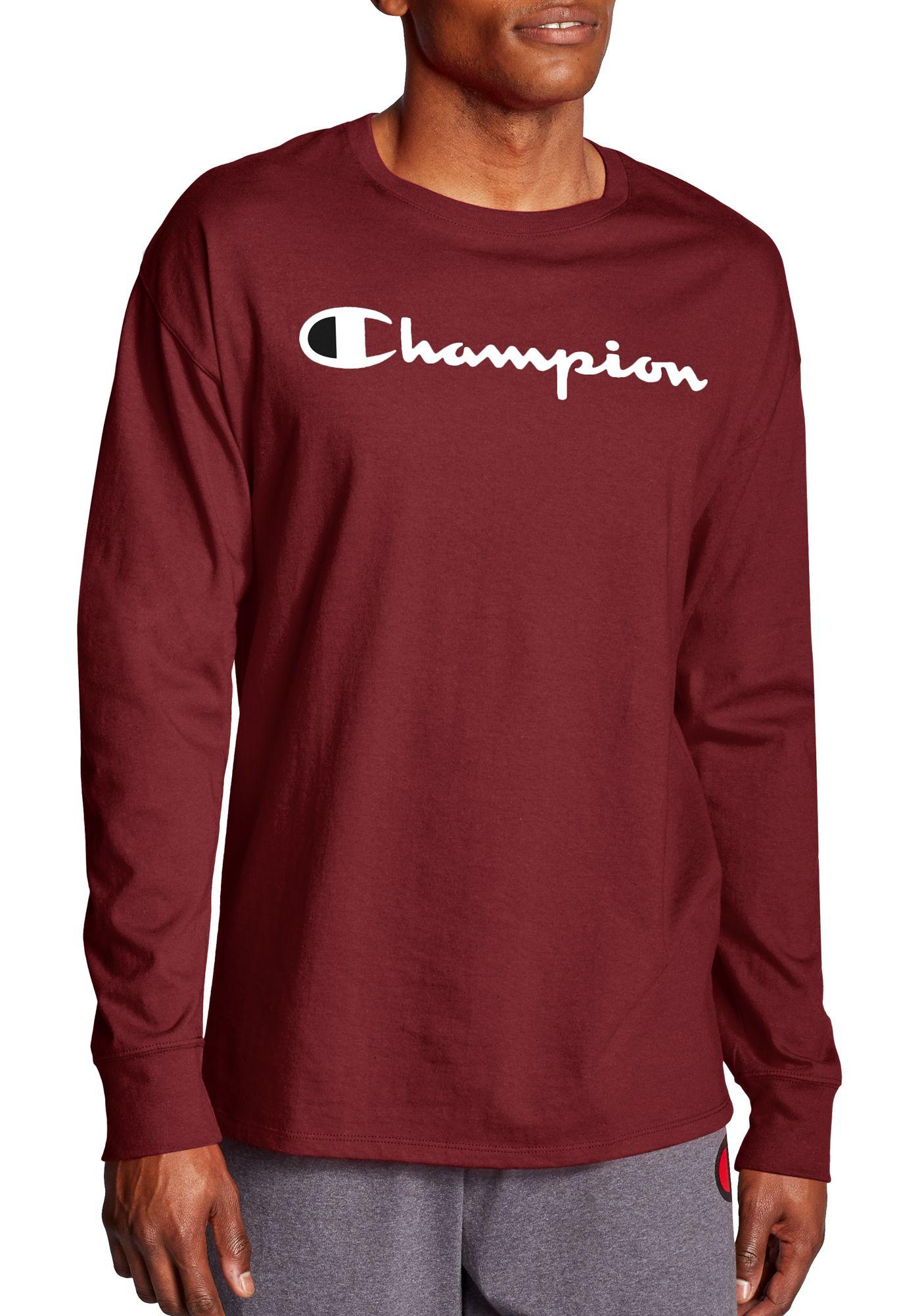 Champion Men's Classic Jersey Script Logo Graphic Long Sleeve Shirt