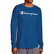 Champion Men's Classic Jersey Script Logo Graphic Long Sleeve Shirt