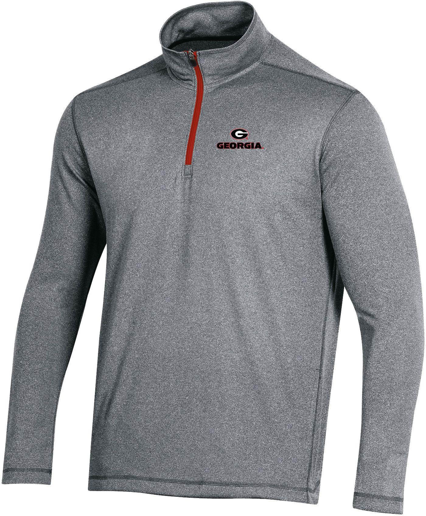 Champion Men's Georgia Bulldogs Grey Quarter-Zip Performance Shirt