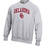 Champion Men's Oklahoma Sooners Grey Reverse Weave Crew Sweatshirt