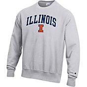 Champion Men's Illinois Fighting Illini Grey Reverse Weave Crew Sweatshirt