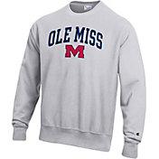 Champion Men's Ole Miss Rebels Grey Reverse Weave Crew Sweatshirt