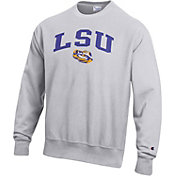 Champion Men's LSU Tigers Grey Reverse Weave Crew Sweatshirt